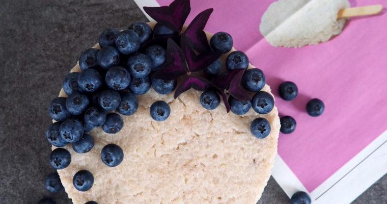 Veganer Milchreis Kuchen mit Blaubeeren